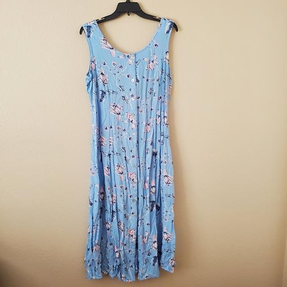 Dresses & Skirts - Blue Floral Sleeveless Button Down Maxi Sun Dress